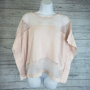 Lucky Brand Poncho Style Top Sz Med Pink Lace
